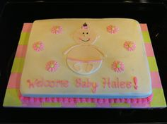 Baby Shower Sheet Cakes   Baby shower cake – baby girl   Sugary Expressions
