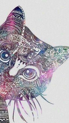 cat, wallpaper, and art image Mandalas Painting, Mandalas Drawing, Mandala Art, Star Tattoos, Body Art Tattoos, Cat Wallpaper, Cat Drawing, Crazy Cat Lady, Love And Light