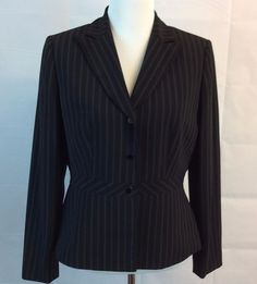 Tahari Arthur S. Levine Women Jacket Coat Blazer Sz 10 Black White Stripes Lined #Tahari #Blazer #Business