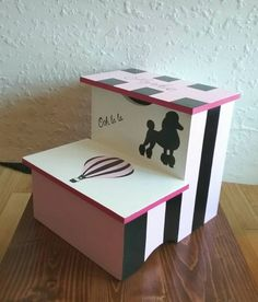 Paris Stepstool with Compartment-Paris Themed Stool by DREAMATHEME