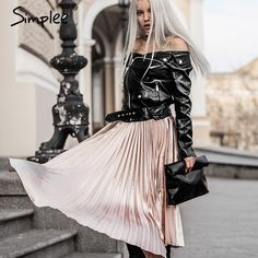 #aliexpress, #fashion, #outfit, #apparel, #shoes #aliexpress, #Simplee, #Autumn, #satin, #black, #skirt, #summer, #Casual, #smooth, #women, #skirt, #winter, #waist, #skirt, #Elastic, #pleated, #skirt