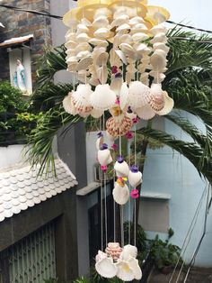 Items similar to Home decor Seashell Wind Chimes, Seashell Crafts, Shell Art, Woodworking Crafts, Sea Shells, Gifts For Her, Unique Gifts, Arts And Crafts, Mermaids