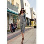 $10.99 Corean Fashion Skinny O neck Long Sleeve Sheath Mid Calf Grey Dresses