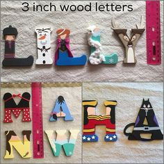 3 INCH hand painted letters Choose your favorite character! Then spell out a name or just an initial. Front and backs are painted. Can add a ribbon to the back for no additional charge (please state if you want it and what color). Each letter is 3 inches tall & hand painted with