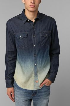 Koto Dip-Dye Denim Button-Down Shirt #urbanoutfitters