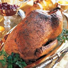 Gather round the kiddies, pull out the tattered copy of A Christmas Carol & read a few chapters to prep for a traditional English Christmas. This Mustard & Garlic Roast Goose will meet you there, gallantly. From @Bon Appetit Magazine, found at www.edamam.com.