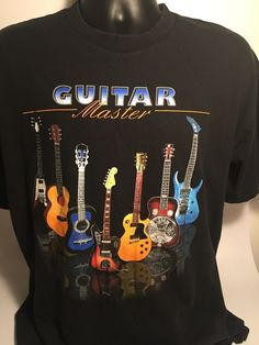 Guitar Master Unisex T Shirt XL Black Graphic 100% Cotton #AlstyleApparel #GraphicTee
