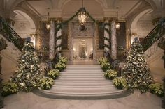 Lovely entrance. The Elms, one of three Newport Mansions dressed up for the holidays.