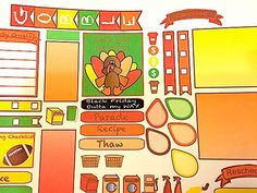 Decorate your favorite planner with Tom the Turkey!  Orange Green and Red cover this spread.