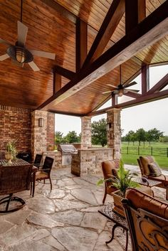 Love that it's protected by a roof. This is great outdoor living! | Outdoor living spaces | Pinterest | Patio Bench, Patio and Porches