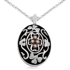 """Sterling Silver Enamel Flower Champagne Diamond Pendant Necklace (1/4 cttw, I-J Color, I2-I3 Clarity), 18"""" Amazon Curated Collection. $121.77. The total diamond carat weight listed is approximate. Variances may be up to .03 carats.. Made In India. All our diamond suppliers certify that to their best knowledge their diamonds are not conflict diamonds."""