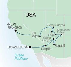 Circuit Sensationnel Ouest Americain, Ouest Americain, Etats-Unis avec Voyages Leclerc - Vacances Transat ref 372826 - mars 2017