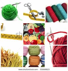 A Collage Of Nine Pictures Of Different Sewing And Knitting Tools Stockfotonummer: 55068823 : Shutterstock