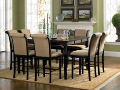 Square Counter Height Dining Table Set In Brown and Black