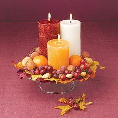 Thanksgiving centerpiece ideas: Harvest Tableau with dried fruit and candles