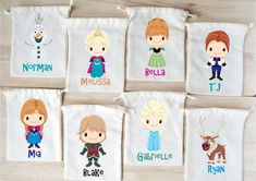 Frozen Favor Bags Frozen Party Favors Personalized Party Gift Bags Loot Bags Goodie Bags Drawstring Frozen Birthday Favors, Frozen Party Bags, Frozen Favor Bags, Birthday Gift Bags, Party Gift Bags, 4th Birthday Parties, Party Gifts, 5th Birthday, Birthday Ideas
