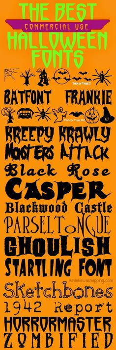 While He Was Napping: {October Spooktacular} 16 of The Best (Commericial Use Friendly) Halloween Fonts  ~~ {16 Free fonts w/ easy download links} ~~
