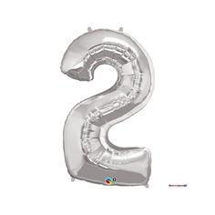 "Folienballon ""Zahl - 2 - Silber"" - Figur - 86 cm - Qualatex -"
