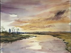 Watercolour landscape painting using the large hake brush - YouTube
