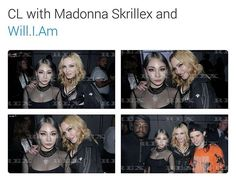 "!!!!!!!!!!!!! Aw, CL met her idol Madonna! More info: CL was seated from row @ Alexander Wang's show, & it the seating was ""Nicki Minaj, Tyga, Kylie Jenner, some girl, & then CL"" She also performed at the after show/party, I believe! #kpop #wholikeskpop ? #2ne1 #cl #madonna #skrillex #william"