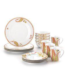 Look what I found on #zulily! Orange Paisley 16-Piece Dinnerware Set by Rachael Ray #zulilyfinds