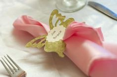 Napkin Ring Place Cards :  wedding butterfly diy ivory napkin ring pink place card reception silver IMG 1311