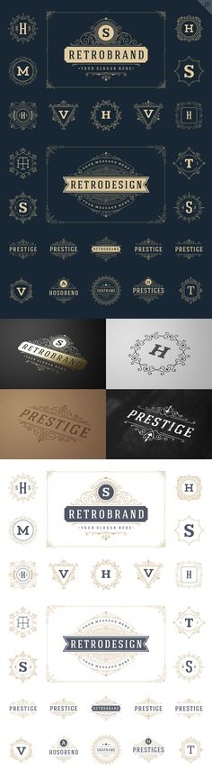 50 luxury ornaments logos & monogram ~ Logo Templates on Creative Market 50 luxury ornaments logos Inspiration Logo Design, Design Blog, Brand Identity Design, Branding Design, Logo Branding, Corporate Branding, Monogram Design, Monogram Logo, Business Signs