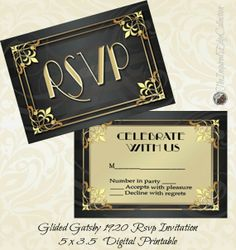 Great Gatsby Art Deco Rsvp Invites by TheInspiredEdge