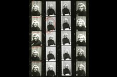 Black and white contact sheet from Alfred Eisenstaedts 1953 photo shoot with Marilyn Monroe.