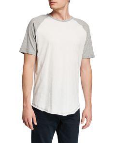 Slate & Stone Men's Crewneck Raglan Tee In Gray/white Raglan Tee, Pullover, Slate Stone, Crew Neck, Mens Fashion, Gray, Cotton, Mens Tops, Clothes