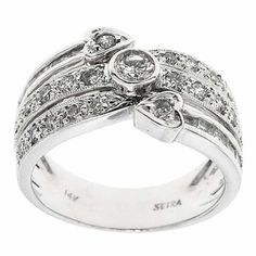 0.65 F SI IGL Certified G VS Round Diamonds Cocktail Ring Band 14K White Gold #Cocktail #IGL #Certified #Diamonds #Ring #Band #14K #White #Gold #Christmas #Gift