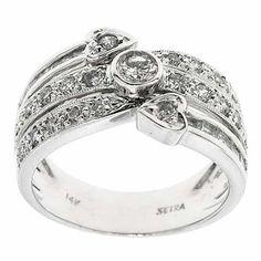 0.65 F SI IGL Certified G VS Round Diamonds Cocktail Ring Band 14K White Gold #Cocktail #IGL #Certified #Diamonds #Ring #Band #14K #White #Gold #Christmas #Gift