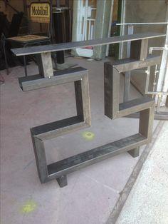 Welded Furniture, Steel Furniture, Unique Furniture, Table Furniture, Furniture Design, Steel Table Legs, Steel Dining Table, Dining Table Design, Metal Design