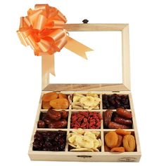 A perfect way to say you love is the Dried Fruit Pack. The stunning tray looks delicious and bright with the finest dried fruits mixed together, ready for the enjoyment of your recipient. This tray gives your relatives, family and business associates a lovely and thoughtful present.  #nuts #driedfruits #gifts #giftideas Fruit Gifts, Dried Fruit, Thoughtful Gifts, Wooden Boxes, Gift Baskets, Christmas Gifts, Tray, Presents, Gift Wrapping