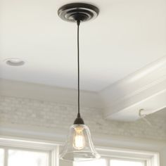 Glass Pendant Shade Adapter for Recessed Can Lights...The conversion adapter screws into any existing recessed can light with no additional wiring needed. A built-in cord spindle lets you adjust the drop to fit your space. No special skills or hardware required.