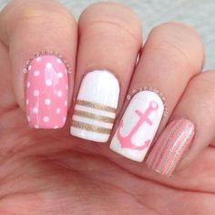 Anchor nails, July nails, Marine nails, Nautical nails, Sea nails, Sea…