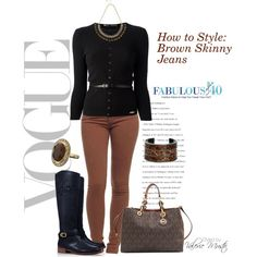 """""""Brown Skinny Jeans"""" by styled-by-valerie-musto on Polyvore"""