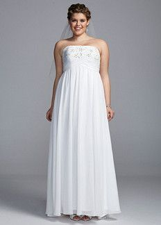 David's Bridal Woman Strapless Empire Chiffon Gown with Beaded Bodice Style 9ECX3554