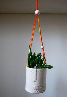 Handmade ceramic hanging pot with beads