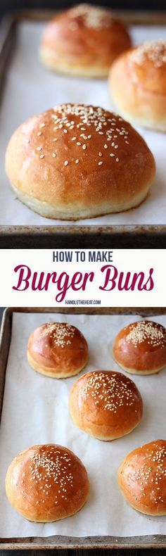 Burger buns- these are perfection! Perfect, gold outside with soft inside. Just a couple notes: -made 8 really large buns. I would probably make 9 next time - during the first shaping, I rolled the 8 round buns and then flattened them with a rolling pin. Worked good - I sprayed the pan with pam so, as usual, the bottoms of the buns burnt. Next time either use parchment or nothin