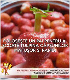 Curăţă căpşunile mai uşor şi mai rapid cu această metodă! - SuperHack.ro Beans, Vegetables, Food, Essen, Vegetable Recipes, Meals, Yemek, Beans Recipes, Veggies