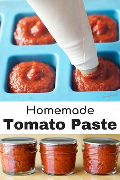 your garden is overflowing with ripe tomatoes, it is the perfect time to make homemade tomato paste. This tomato paste recipe has only three ingredients and there are two options for storing the tomato paste. Once you know how to make homemade tomato Tomato Paste Recipe, Homemade Tomato Paste, Homemade Sauce, Tomato Paste Uses, Pasta Sauce No Tomato Paste, Tomato Basil Jam Recipe, Recipes With Tomato Paste, Tomato Paste Substitute, Canned Spaghetti Sauce