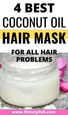 Coconut Hair Mask, Coconut Oil Hair Growth, Coconut Oil For Hair, Gelatin Hair Mask, Hair And Skin Vitamins, Hair Masks For Dry Damaged Hair, Hair Growth Mask Diy, Overnight Hair Mask, Coconut Oil Hair Treatment