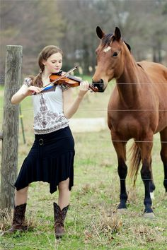 Music and horses, girl, female, musician, violin, fiddle, horse, alert, listening, playing, music, cute, nuttet, friends, grass, trees, beautiful, love, photograph, photo