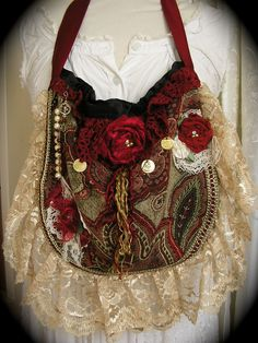 Red Tapestry Purse bag, beads lace embellishment, vintage doilies, handmade ooak. $120.00, via Etsy.