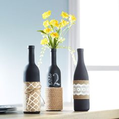 Give your home some trendy home decor with our fun Burlap-Wrapped Wine Bottle Trio.