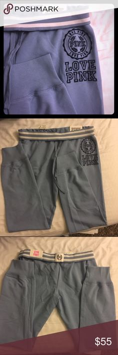 PINK sweatpants/ gym pants New with tags, never worn, cannot model. Light blue  56% cotton 38% polyester 6% elastane  Sweatpants style Size small No lowball offers Rude and inconsiderate comments will not be tolerated.  Free koozie with purchase                                    Please use offer button! 30% off 3+ items! Thanks for looking! PINK Victoria's Secret Pants Leggings