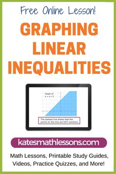 Free Algebra 1 lesson on graphing linear inequalities.  See how to determine if the line should be solid and dashed and how to figure out which side to shade.  Includes a practice quiz with instant feedback!
