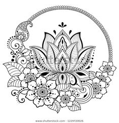 Circular pattern in form of mandala with lotus flower for henna, mehndi, tattoo, decoration. decorative ornament in ethnic oriental style. Lotus Henna, Flor Henna, Henna Mehndi, Lotus Flower Mandala, Mehndi Tattoo, Mandalas Painting, Mandalas Drawing, Mandala Coloring Pages, Coloring Book
