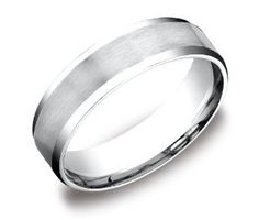 Men's Platinum 6mm Flat Comfort Fit Wedding Band Ring with Satin Center and High Polished Beveled Edges